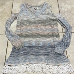 Knox Rose Open Shoulder Lace Trim Sweater Tunic M